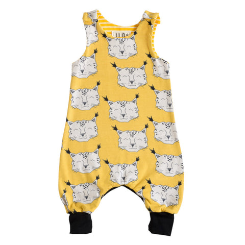 Organic cotton babygrow with snow leopard faces design.