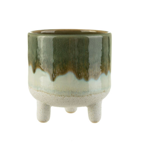 Planter With Legs Ceramic Green Glaze Mojave