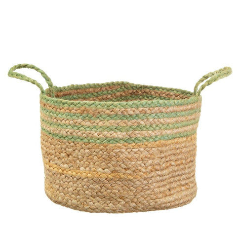 Jute Basket Green Stripe