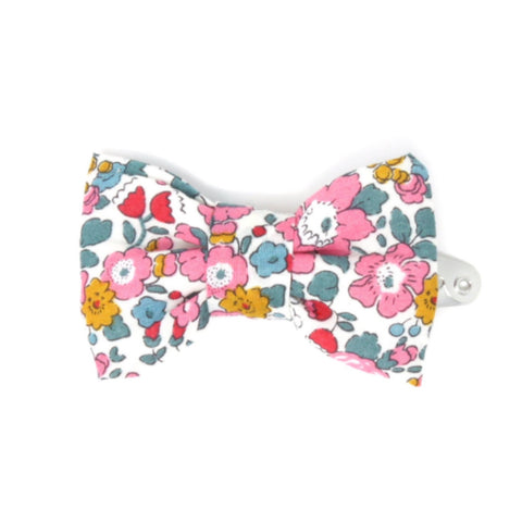Liberty print cotton fabric bow clip.