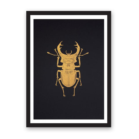 Riso print featuring a golden stag beetle.