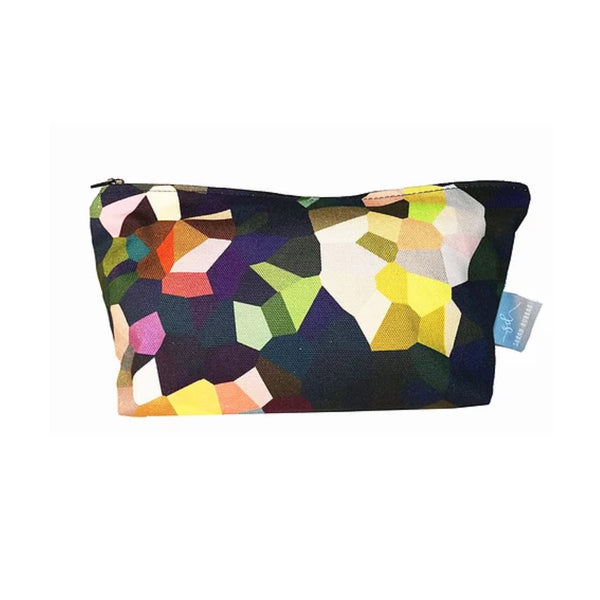 Brightly coloured makeup pouch with waterproof lining.