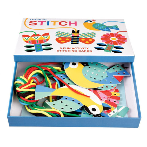 Box activity set containing stitch cards and sewing string.