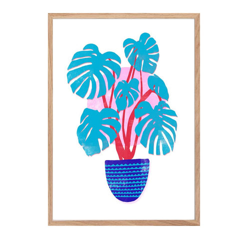 Print featuring a turquoise Swiss cheese plant in a deep blue pot