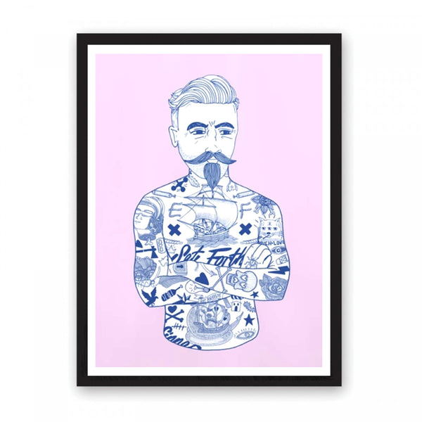 Tattoed man illustration risogrpah print in blue on a fluro pink background.