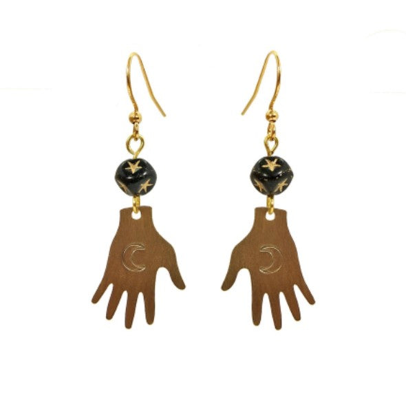 Hand stamped tarot hand earrings with black star glass beads