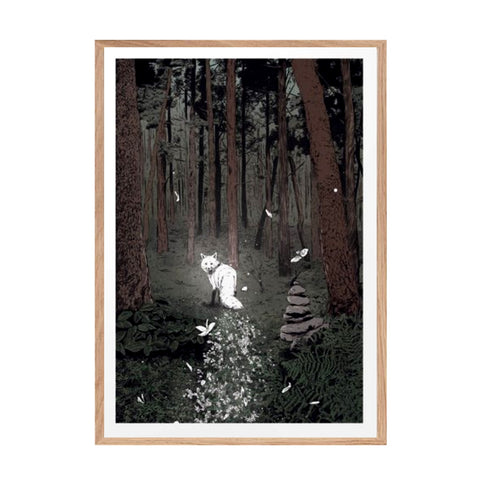 Print showing a white fox in the forest