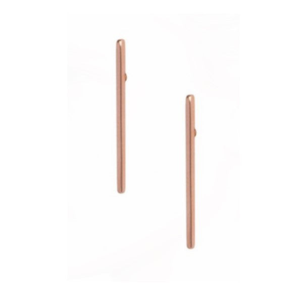 Thin wire studs earrings created from rose gold