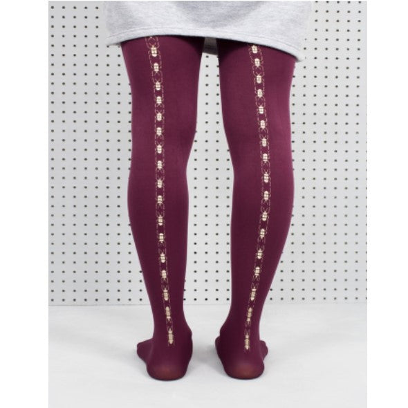 Tights Plum Hand Screen Printed Scarab Tights