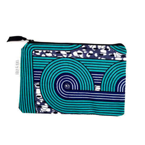 Fabric zip pouch with waterproof lining.
