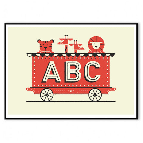 ABC Train Hand Screen Print A2