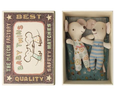 Twin mice in matchbox with floral pouch bedding.