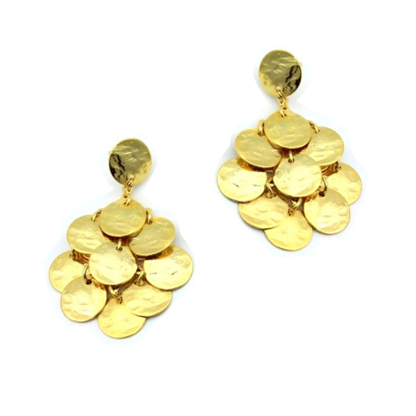 gold disk earrings with stud backs