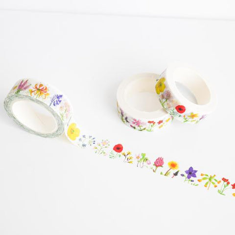 Washi tape featuring illustrations of British wild flowers.