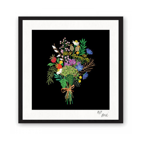 Giclée print featuring a brightly coloured posy of wild flowers on a black background.