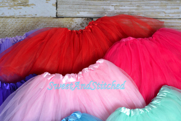 Girls Tutu in Newborn (0-6M) and 6M+ size - the perfect accessory for birthday outfits and holiday outfits! - Sweet and Stitched
