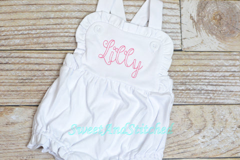BLANK baby girl outfit, bubble romper ruffle sunsuit BLANK