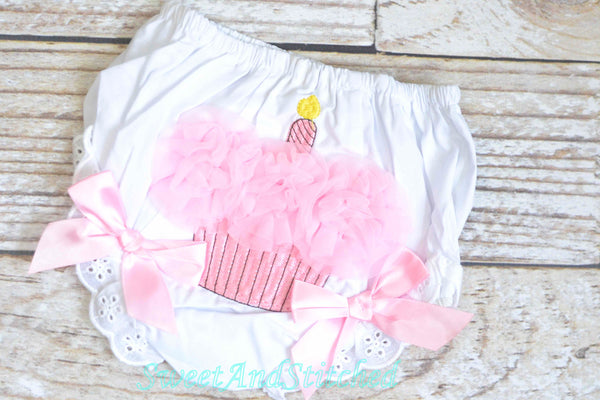CLEARANCE Ruffle Bloomers in 12M-18M with CUPCAKE for cake smash