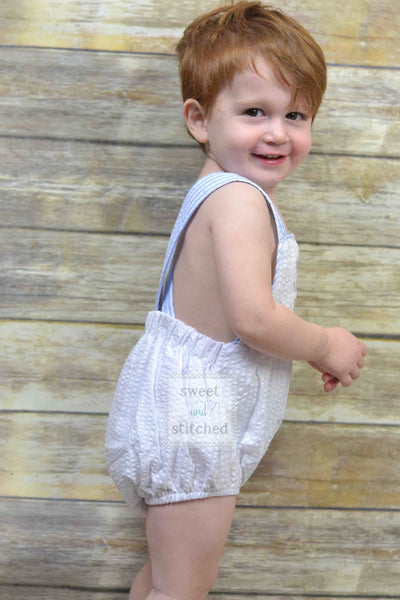 BLANK baby boy seersucker outfit, bubble romper sunsuit BLANK