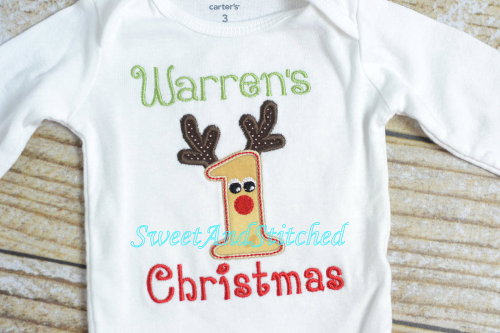 07771d94880 Baby boy first (1st) Christmas outfit with Reindeer applique and name -  Sweet and