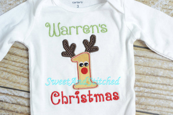 Baby boy first (1st) Christmas outfit with Reindeer applique and name - Sweet and Stitched