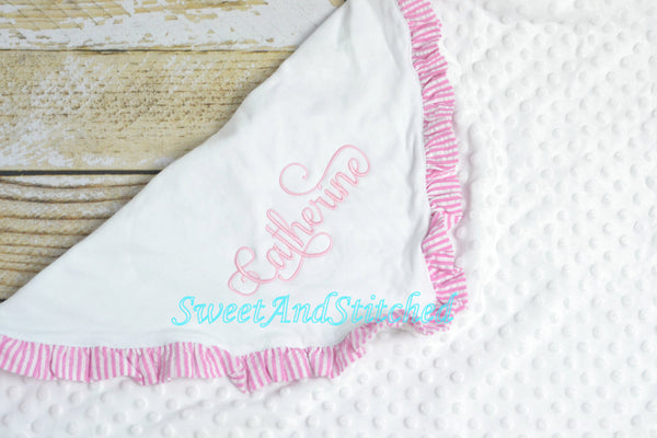 Personalized Baby Girl Minky Dot Blanket with pink ruffle, name or monogram - Sweet and Stitched