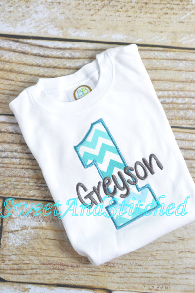 Baby boy first birthday Shirt in Blue and Gray Chevron - Sweet and Stitched