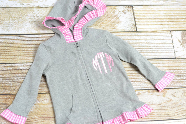 Monogrammed Girls Jacket or pullover in gray with pink ruffle perfect for fall! - Sweet and Stitched