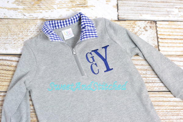 Monogrammed Boys Jacket or pullover in gray and navy for fall - Sweet and Stitched