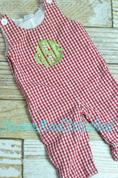 Personalized Baby Boy Christmas outfit - red corduroy monogrammed Christmas overalls