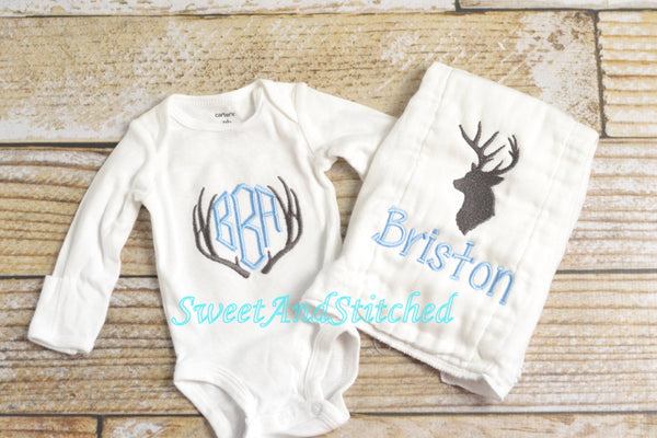 Personalized baby boy gift set, monogrammed hunting outfit
