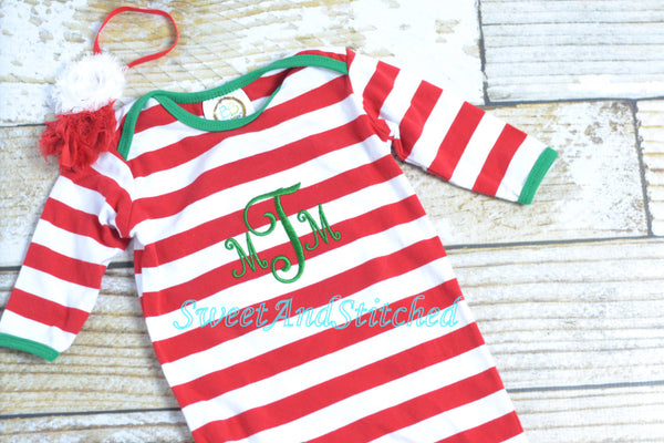 Baby's first (1st) Christmas gown stripe - my first christmas - monogrammed christmas outfit - newborn gown - Boys or girls newborn gown