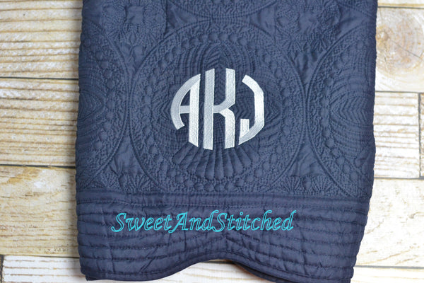 Monogrammed baby quilt, Gray and Navy baby blanket
