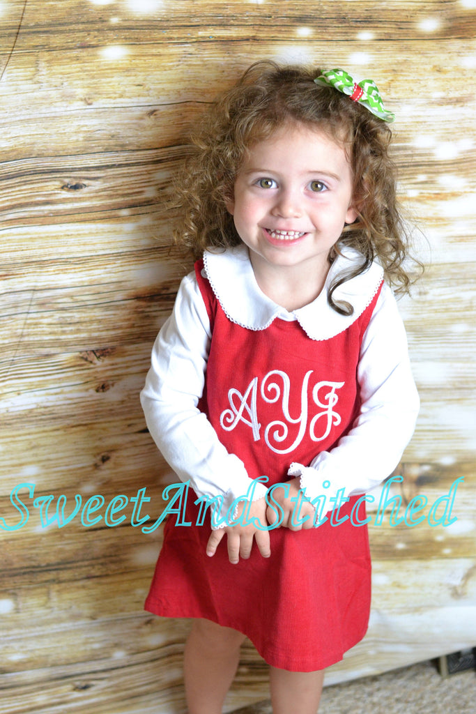 Girls Christmas or Valentine's dress - Monogrammed Christmas or Valentine's outfit- Corduroy Christmas jumper