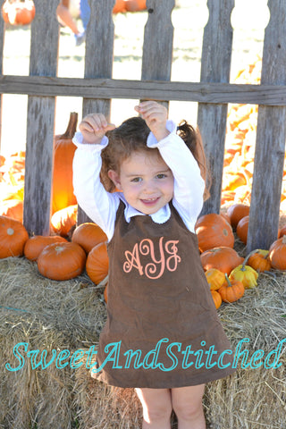 Girls Thanksgiving Dress, monogrammed thanksgiving dress