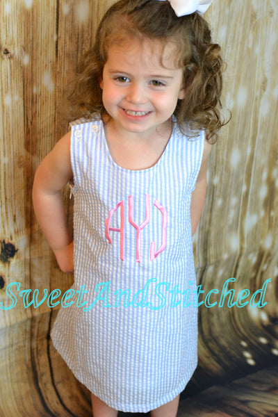 Monogrammed Seersucker Easter dress - baby girl personalized dress, personalized seersucker dress