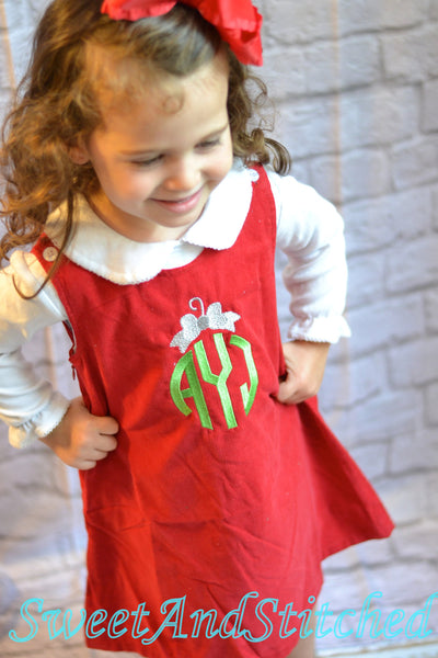Girls Christmas dress - Monogrammed Christmas dress- Corduroy Christmas jumper - Christmas ornament dress