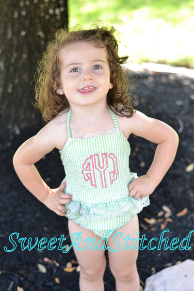 Toddler 4th of July Swimsuits, girls seersucker 1 piece swimsuit