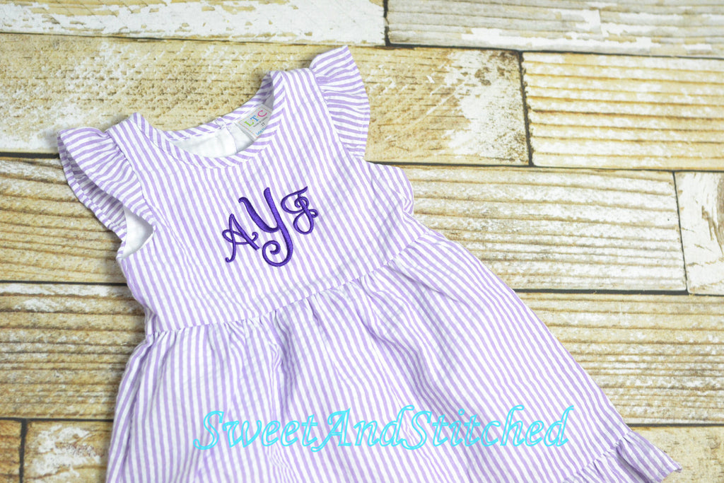Monogrammed Seersucker Easter dress, toddler dress