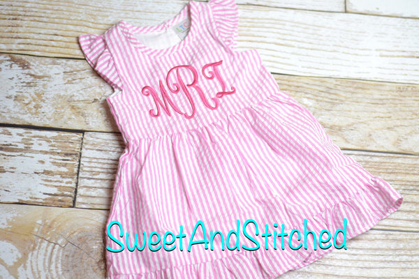 Monogrammed Seersucker watermelon dress, pink watermelon birthday outfit
