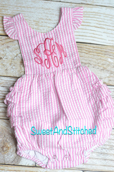 Monogrammed toddler bubble romper, monogrammed Seersucker bubble