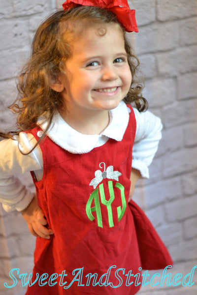 Monogrammed Christmas dress with reindeer design, Corduroy Christmas dress