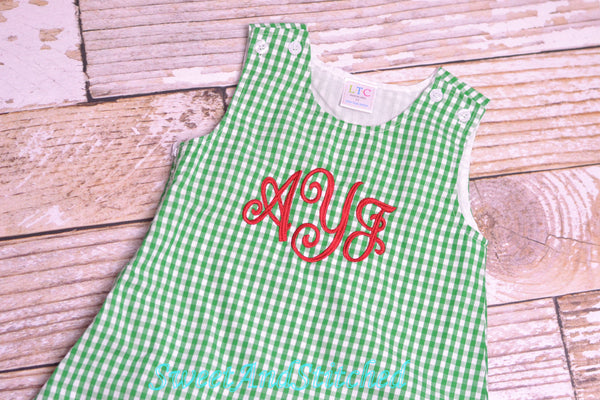 Girls monogrammed Christmas dress