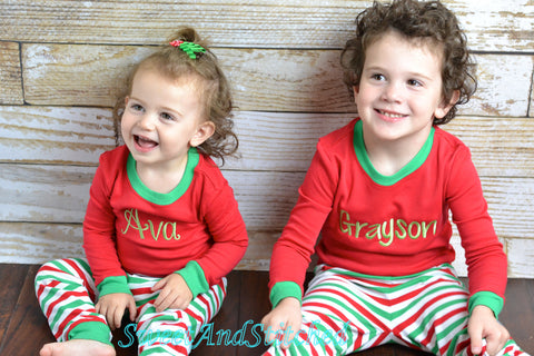 BLANK Kids Christmas Pajamas (Pjs, Jammies) in red and green stripe