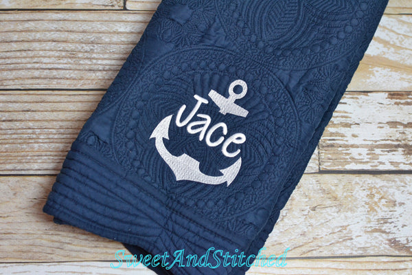 Monogrammed Nautical Baby quilt in Navy and mint - Nautical anchor crib bedding, monogrammed baby quilt with anchor design