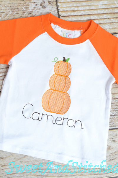 Boys monogrammed pumpkin shirt (raglan) with vintage pumpkin design and name