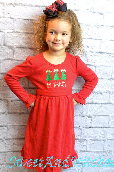 Personalized girls Christmas dress - red ruffle Christmas dress green and white embroidery - Baby girl christmas outfit