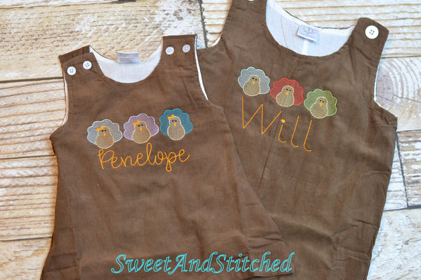 Baby Boy thanksgiving outfit with turkeys and name in vintage style, boys corduroy overalls personalized