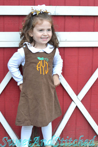Girls Pumpkin Dress, monogrammed thanksgiving dress