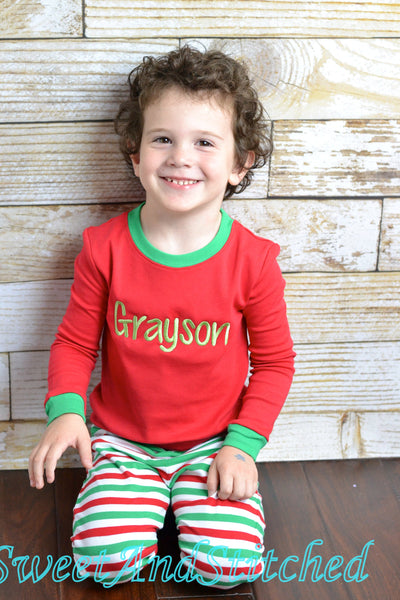 Kids Christmas Pajamas (Pjs, Jammies) in red and green stripe with name